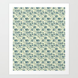 Native Flora On Ecru Pattern Art Print