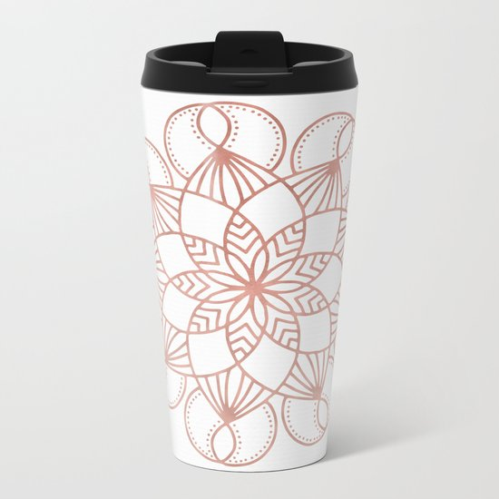 Mandala Flowery Vine Rose Gold on White Metal Travel Mug