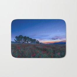 """""""Venus and Moon over spring poppies"""" Bath Mat"""