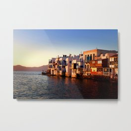 Mykonos Glow Sunset Metal Print