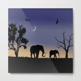 African dawn - elephants Metal Print