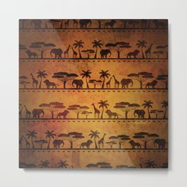 African Animal Pattern Metal Print
