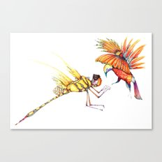Holiday drawings:  Dragonfly & Bird of paradise Canvas Print