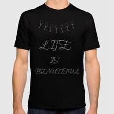 Life Is Beautiful (Gray) Black X-LARGE Mens Fitted Tee