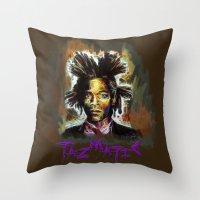 basquiat Throw Pillows featuring Jean Basquiat by Tazmatic