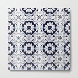 Portuguese Tiles Azulejos Blue and White Pattern Metal Print