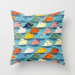 Happy Hippo Family Throw Pillow