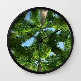 Coconut trees leaves pattern Wall Clock
