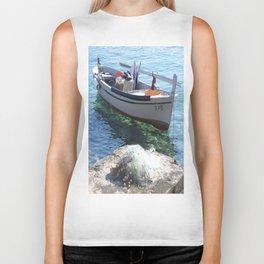 Boat in the croatian sea Biker Tank