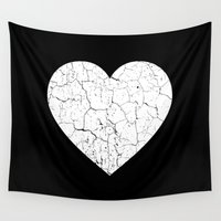 broken Wall Tapestries featuring Broken Heart by Dizzy Moments