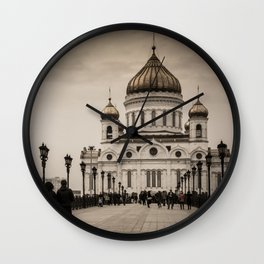 the Cathedral of Christ the Savior in Moscow in Sepia Wall Clock