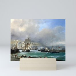 A Breezy Day Off Dover Harbour seascape nautical painting by Julius Hintz Mini Art Print