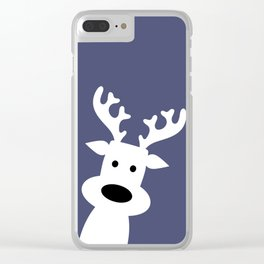 Reindeer on blue background Clear iPhone Case