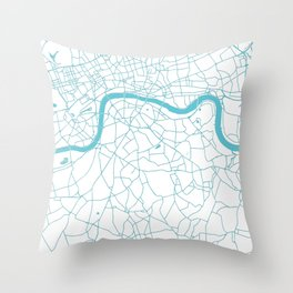 London White on Turquoise Street Map Throw Pillow