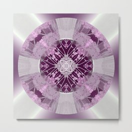 Microchip Mandala in Pink Metal Print