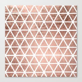 Geometric faux rose gold foil triangles pattern Canvas Print