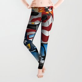 Patriotic American Flag Semi Truck Tractor Trailer Big Rig Cartoon Leggings