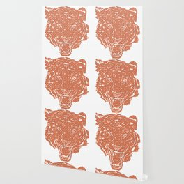 TIGER SILHOUETTE HEAD WITH PATTERN Wallpaper