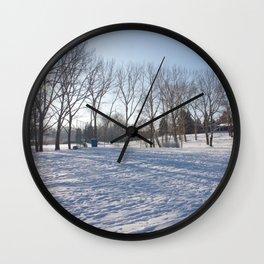 Snowy field Wall Clock