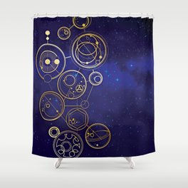 Gallifrey Gold Space Geometry Shower Curtain