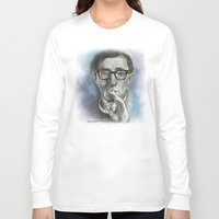 woody allen Long Sleeve T-shirts featuring Woody Allen by Magdalena Almero