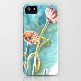 Blooms on Turquoise iPhone Case
