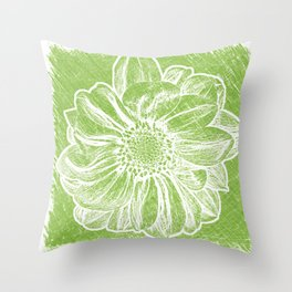 White Flower On Lime Green Crayon Throw Pillow