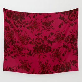 Vintage black gray red bohemian floral pattern Wall Tapestry