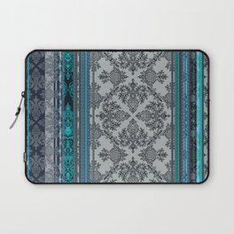 Teal, Aqua & Grey Vintage Bohemian Wallpaper Stripes Laptop Sleeve