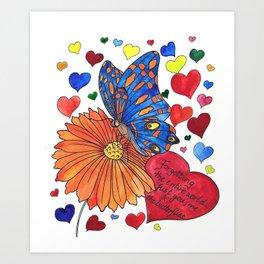 Hearts, Flowerd & Buterfly Art Print