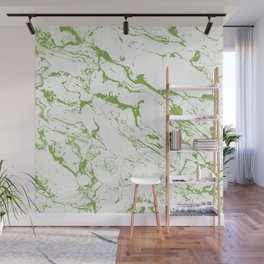 Modern white green marble greenery color of the year pattern Wall Mural