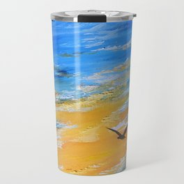 ocean sunset, original oil painting landscape, blue wall art, beach decor Travel Mug