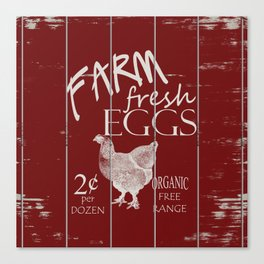 Farm Fresh Eggs Rooster Red Painted on Distressed Slatted Wood Fence Canvas Print