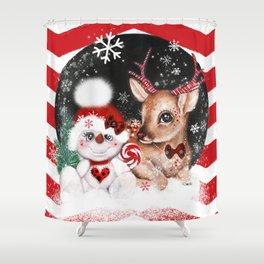 Rudolph & his Snowman Pal Shower Curtain