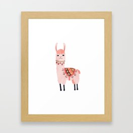Cute Lama Sticker Framed Art Print
