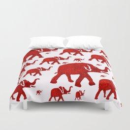 ELEPHANT Red #1 Duvet Cover
