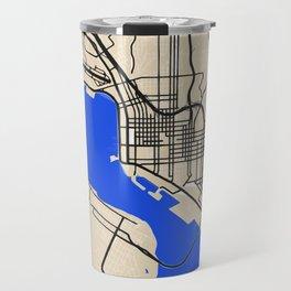 San Diego Street map art in blue and beige tonality Travel Mug