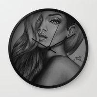 rihanna Wall Clocks featuring Rihanna by Negrila Mircea Illustrations