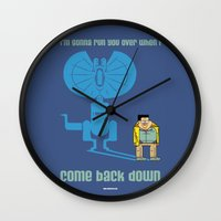 jurassic park Wall Clocks featuring JURASSIC PARK : Nerdy Nedry by SimonCARUSO.com