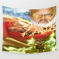 thor Wall Tapestries featuring Thor (Asgard Family - Thor, Loki and Odin) by Brian Hollins art