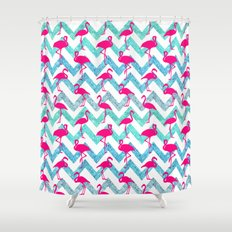 Go Flamingo! Tropical Pink Neon Flamingos Teal Glitter Chevron Shower Curtain