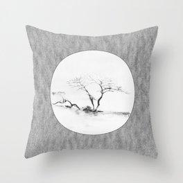 Scots Pine Paper Bag Grey Throw Pillow
