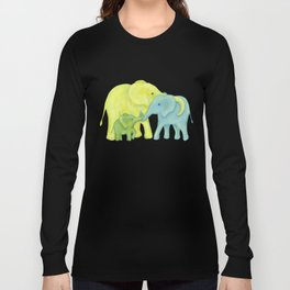 Elephant Family of Three in Yellow, Blue and Green Long Sleeve T-shirt