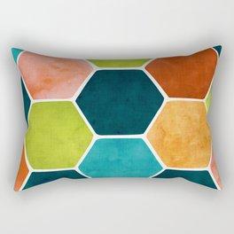 Colorful Terra Cotta - hexagon tile pattern Rectangular Pillow