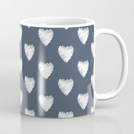 Pretty white hearts on Navy Coffee Mug