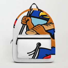 French Eagle Holding Flag and Baguette Cartoon Backpack