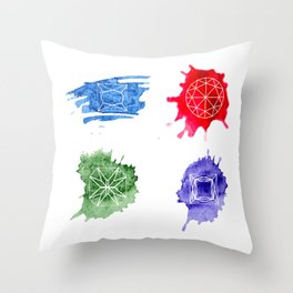 Watercolor bright hand-drawn gems set Throw Pillow