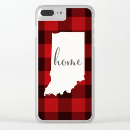 Indiana is Home - Buffalo Check Plaid Clear iPhone Case