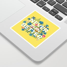 """Never Been Better"" Flower Artwork on Yellow - 100 Days of Sunlight Sticker"