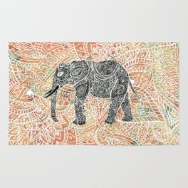 Tribal Paisley Elephant Colorful Henna Floral Pattern Rug